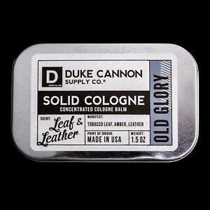 Duke Cannon Old Glory Solid Cologne Tin Container 1.5 oz USA Leaf & Leather