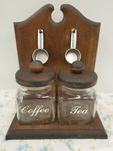 Vintage Anchor Hocking Glass Canister Tea Coffee Set Knock on Wood Corp