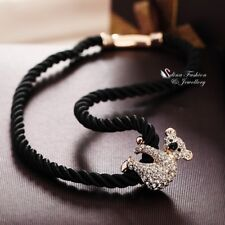 18K Rose Gold GF Simulated Diamond 38cm Black Cord Chain Cute Koala Necklace