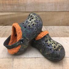 Crocs Unisex Kids Clog Shoes Blue Orange Camouflage Cut Out Lined Round Toe 11C
