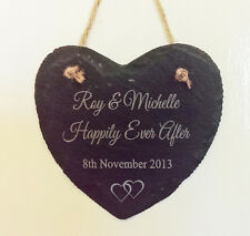 Beautiful Personalised Slate Hanging Heart Happily Ever After Wedding Gift Chic