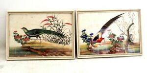Decorative Oriental Chinese Birds ORIGINAL Rice Paper Paintings - FRAMED M36