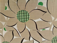 Vintage abstract sunflowers mid century textured cotton fabric curtains drapes!