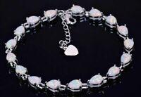 Lovely 925 Sterling Silver Tear Drop White Fire Opal Tennis Bracelet 18cm