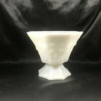 Vintage Milk Glass Grape Pattern Pedestal Compote