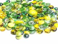 100 Glass Pebbles / Nuggets / Stones /Gems/ Mosaic Tiles - Yellow & Green Mix