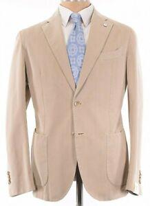 L.B.M 1911 Tailored Soft Jacket / Sport Coat Size 40R Khaki Tan Cotton/Silk