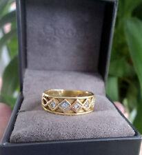 Superb Clogau Welsh 18ct Yellow & Rose Gold Celtic 5 x Diamond Ring - size O