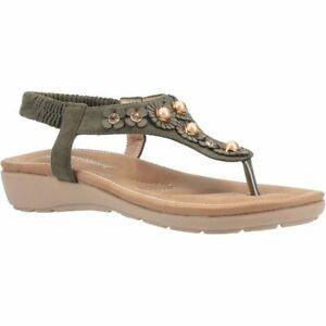 Fleet & Foster Womens Slingback Toe Post Sandals Style Phoebe Colour Khaki eu 36