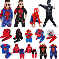 2PCS Toddler Kids Baby Boys Spiderman Coat Tops+Pants Cosplay Costume Outfit Set