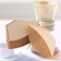 100Pcs Disposable Paper Brown Coffee Filter Cones Replacement Unbleached