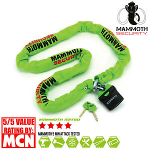 HEAVY DUTY MOTORCYCLE CHAIN AND PADLOCK MAMMOTH SECURITY 1.8M SECURITY BIKE LOCK