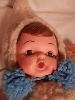 """VINTAGE 24""""  WHITE FUR DOLL SNOW BABY DOLL MILK BOTTLE FOR MOUTH"""