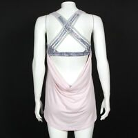 LULULEMON Tank Top Milennial Pink Pearl Gray Wild Strappy Back size 8 - INV 0137