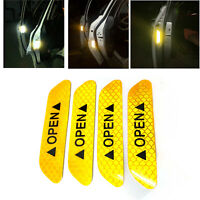 4Pcs Amber Car Door Open Sticker Reflective Tape Safety Warning Auto Decal Film