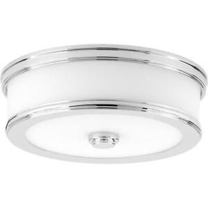 Bezel LED Collection 17-Watt Polished Chrome Integrated LED Flushmount