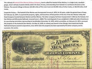 Stk Keokuk & Des Moines 1896 Common on YELLOW PAPER  Great vignette