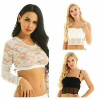 Sexy Women See Through Tank Top Blouse Lace Mesh Vest Bra Crop Tops T-Shirt Club