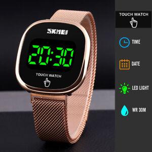 New Touch Screen Ladies Digital LED Date Stainless Steel Waterproof Womens Watch