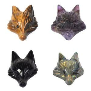 34mm Natural gemstone stone carved cute fox head pendant DIY Handcrafts
