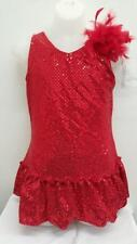 Dance Costume Large Child Red Feather Dress Jazz Tap TheatricalSolo Competition
