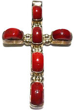 """DESIGNER """"MOB"""" RED CORAL STERLING SILVER MEXICO RELIGIOUS CROSS PENDANT 2.75"""""""