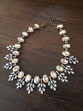 Vintage Inspired Peach Rhinestones Statement Necklace Wreath Collar