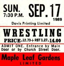 WWF WRESTLING - VINTAGE TICKET TORONTO Sept. 17, 1989 Maple Leaf Gardens-H.Hogan