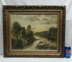 Vtg 30's? Lithograph Print Courting Couple PLEASURE ON THE OLD MILL STREAM Water