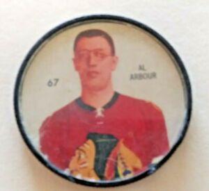 1960-61 Shirriff Coin:#67 Al Arbour  Chicago Black Hawks Hall of Famer