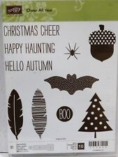 Stampin Up ALL YEAR CHEER stamps NEW Fall acorn Christmas tree feather autumn