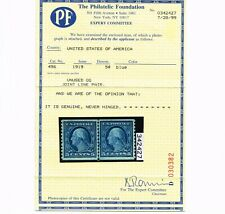 EXCEPTIONAL GENUINE SCOTT #496 VF-XF MINT OG NH PF CERT 1919 BLUE COIL LINE PAIR