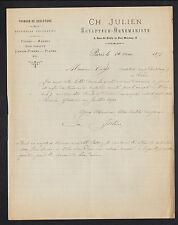 """PARIS (IV°) SCULPTEUR sur PIERRE MARBRE / MENUISERIE D'ART """"Ch. JULIEN"""" en 1893"""