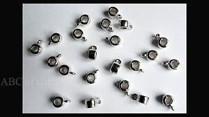 50 pcs of Platinum Toned Cord Bails, fits 3mm Dia Cord
