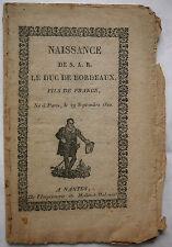 Naissance de S. A. R. le Duc de Bordeaux. Imp. de Mellinet Malassis,Nantes. 1821