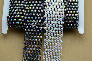 one yard 5row+6row AB rhinestone trim custom sew on crafts black/white setting