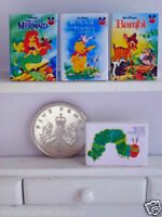 FOUR DOLLS HOUSE MINIATURE CHILDRENS BOOKS Handmade 1:12th scale