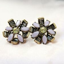 Rings`Ears Purple Flower Retro Antique Style Evening Marriage Gift