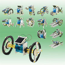 14 in1 Solar Powered DIY Model Robot Car Ship Educational Toy Kit Kid Best Gift