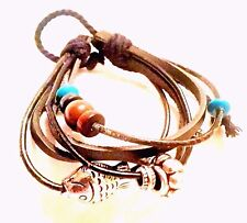 Leather Rope Wrist Bead Charm Friendship Bracelet - Fish - Fashion Jewellery