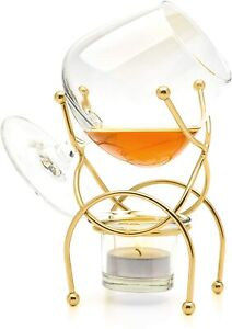 Vinology Brandy and Cognac Warmer Glass with Tealight and Holder, Deluxe Gold