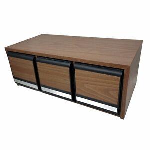 CD Holder 3 Drawers 42 CD's Faux Wood Storage Cabinet Case Vintage Box Holds
