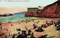 Cliff House And The Beach View People Bathers San Francisco CA Vintage Postcard