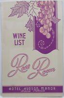Vintage 1945 Rose Room Hotel Hudson Manor Davis Islands Wine Restaurant Menu