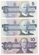 1986-1991 Bank of Canada Bird Serial MATCHING LOW SERIAL NUMBER SET #305
