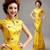 Chinese Cheongsam Evening Prom Party Wedding Mermaid Dress Ball Gown Embroidery#