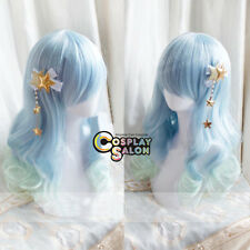 Light Blue Mixed Light Green Lolita Long Curly Women Ombre Party Cosplay Wig+Cap