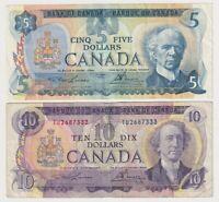 Canada $5 (1979) & $10 (1971) Combo (Lawson/Bouey)- Circulated Notes   ✹SB L32✹