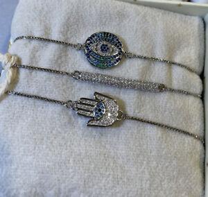 New ARM CANDY BRASS CUBIC ZIRCONIA 3 Set Of Hamsa & Eye Bar Bracelets Silver