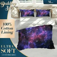 Stars Milky Way Nature Space Purple Doona Cover Set with Zipper And Pillowcase
